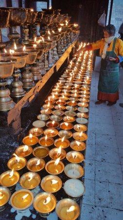 Candles lit in prayer at National Memorial Chorten in Thimpu