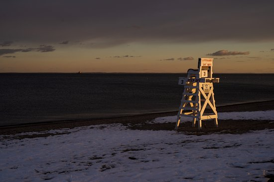 Fairfield, CT: Life Guard Chair at Penfield Beach at Dusk