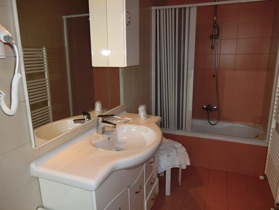 Astoria Hotel: 室内の様子。洗面と風呂。風呂は狭い。