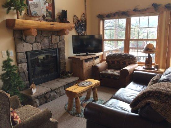 Solitude Cabins: Livingroom with gas log fireplace.