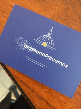 Brasserie Printemps Carte De Visite Du Restaurant