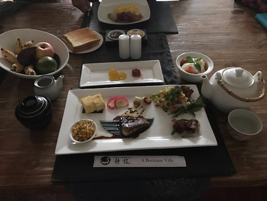 The Seiryu Villas: Breakfast served to your room every morning. I chose Japanese Breakfast. Delicious!