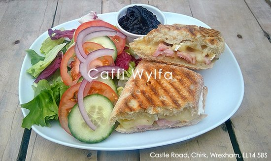 Chirk, UK: New - delicious brie and bacon panini served with salad and onion relish.