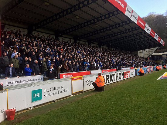 High Wycombe, UK: The 1800+ travelling Portsmouth fans at Wycombe Wanderer's Adams Park