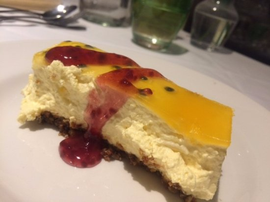 Henlow, UK: Passion fruit cheesecake (so delicious, esp the base)