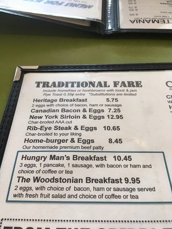 Woodstock, Canada: I'm having the hungry man breakfast.