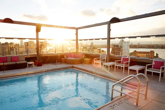 Gansevoort Meatpacking NYC: The rooftop pool at sunset