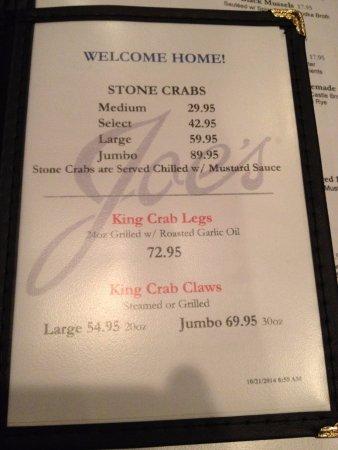 Joe's Stone Crab: Меню