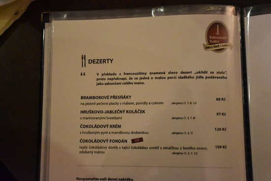 Lednice, Czech Republic: menu