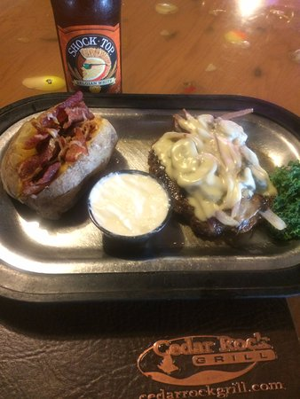 Rock Valley, IA: Smothered Chopped Steak Loaded Baked Potato