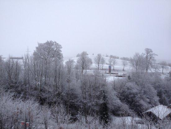 Nesselwang, Alemania: Aussicht vom Zirben-Rundbettzimmer