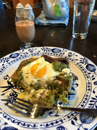 Afton, VA: Saturday Breakfast! Kale herbed strata with egg and bernaise sauce