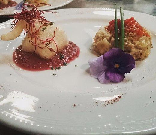 Capezzano Pianore, Italy: tortino di branzino e baccalà in tempura