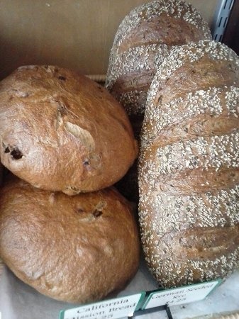 Brevard, NC: whole wheat California mission bread with figs and almonds along side German seeded Rye