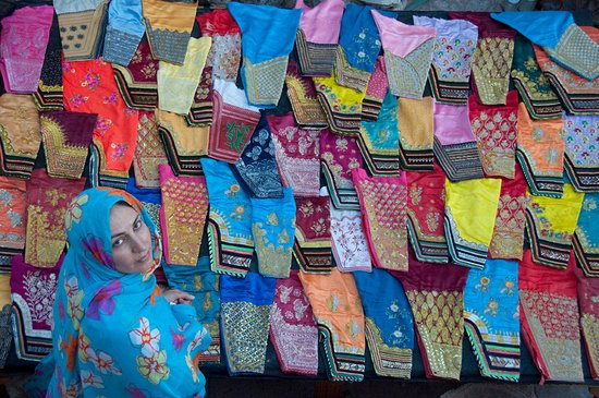 Hormoz, Iran: Traditional Trousers of the local women in Dr. Nadalian Museum