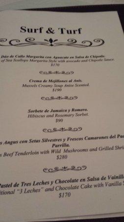Emiliano Restaurant at Casa Velas Resort: change of menu daily along with regular menu