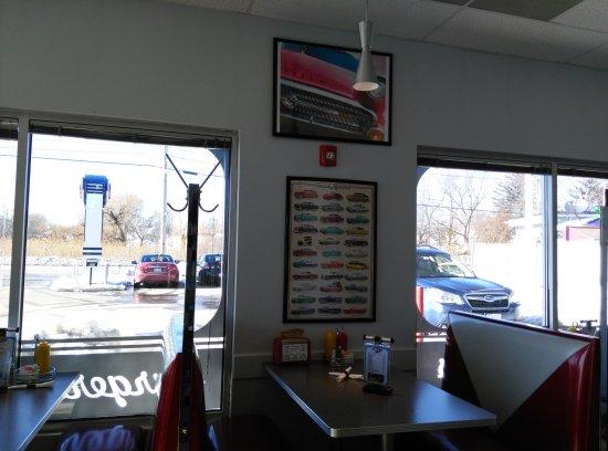 North Attleboro, MA: He loved the Hawaiian burger. I loved the veggie burger w/ fried pickles & mac & cheese! We shar