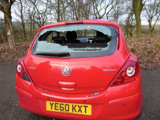 Colne, UK: Damage to car in car park