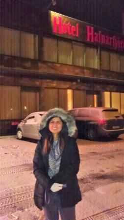 Hotel Hafnarfjordur: our 1st morning in Iceland, enjoying the snow