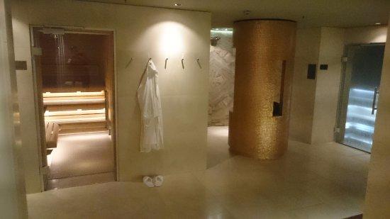Spa. Sauna (left), crushed ice machine & shower (center), steam room ...