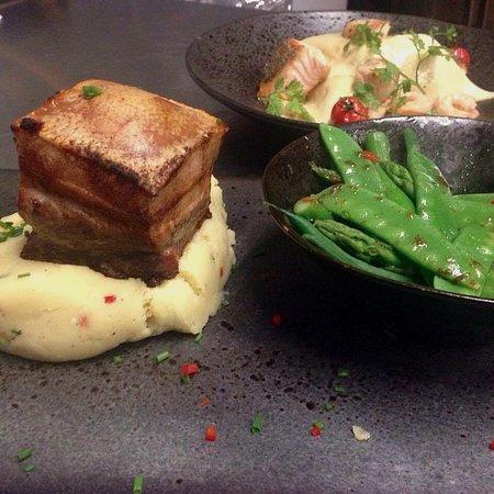 Littleborough, UK: Five spice pork belly. Wasabi mash. Asian greens.