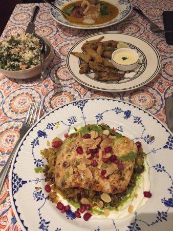 fish, okra, green beans