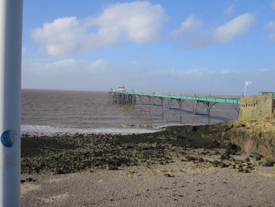 Clevedon, UK: View of pier from beach.