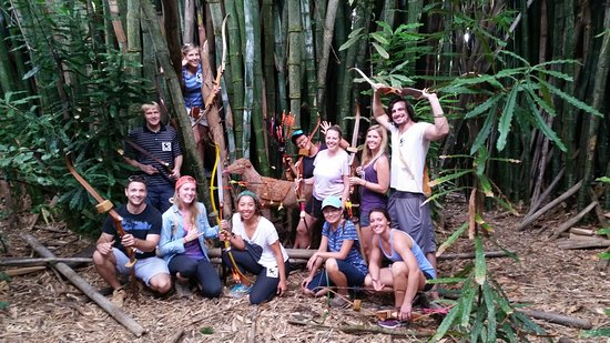 Holualoa, HI: Group fun in the forest.