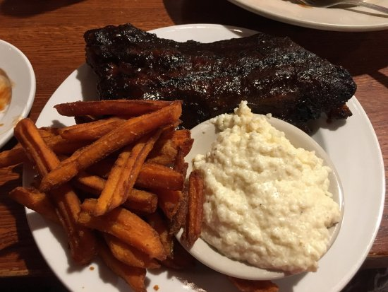 South Carver, MA: Baby Back Ribs with cheddar grits and sweet potato fries; Carolina Jumbo Ribs (Big Ends), potato