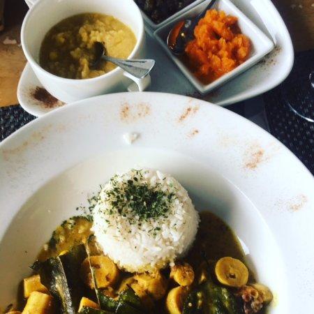 PK's @ Pasquiere Restaurant & Gastropub: Octopus curry with rice, lentils, eggplant salad and pumpkin salad