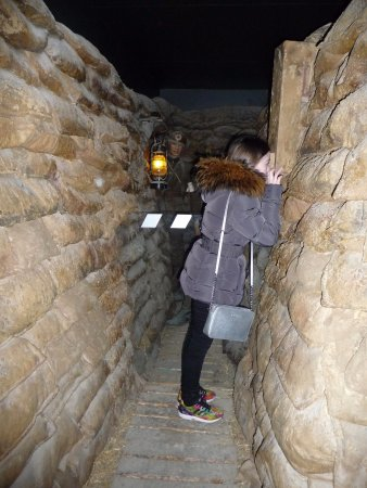 Zonnebeke, Belgien: A replica trench within the museum.