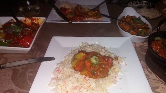 Menai Bridge, UK: The meal with mushroom baji and pashwari nan, pilau rice.