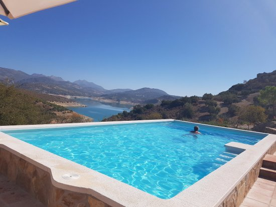 Iznajar, Spain: View of the lake from the pool.