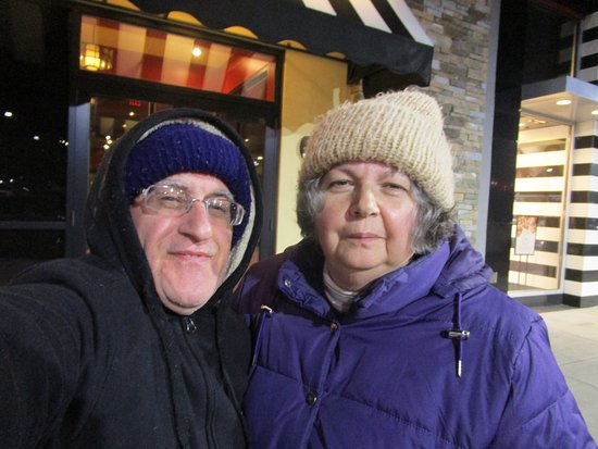 Cranston, RI: Louis and I standing in front of Corner Bakery Cafe.