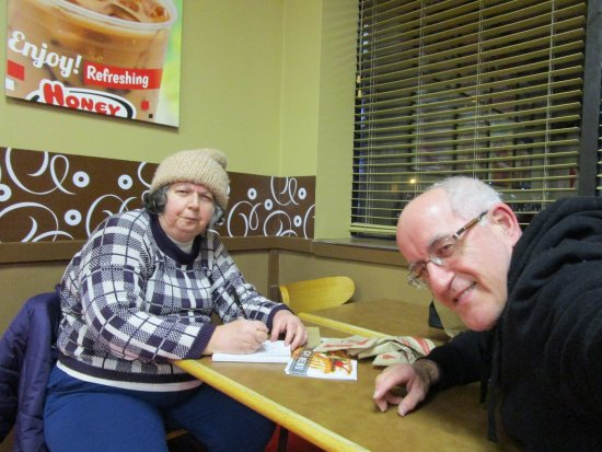 Cranston, RI: Louis and I sitting at Honey Dew Donuts.
