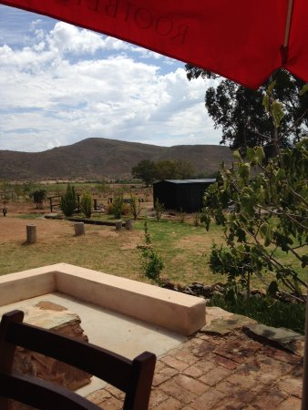 McGregor, Güney Afrika: View from cafe veranda towards donkey enclosures