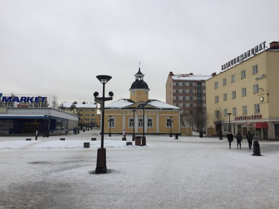 Kajaani in February. Along the river, central place and townhall, lake