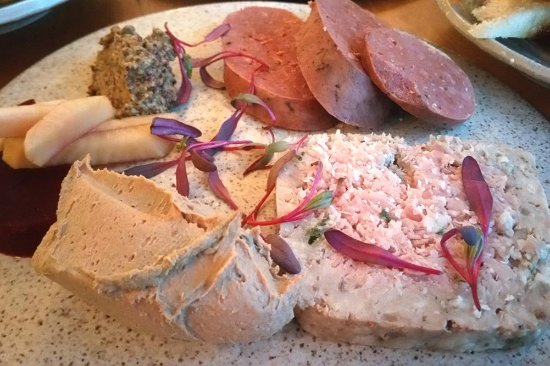 Jackson, NH: House Charcuterie with chicken liver pate, pork pate, chourico sausage (all house made)