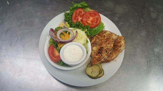 Burlington, NC: Fire Roasted Chicken Melt with a house salad side