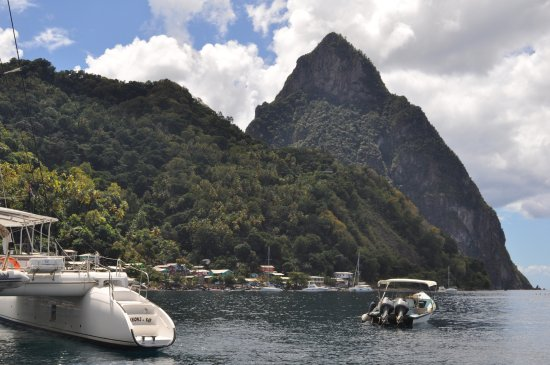 Vieux Fort, St. Lucia: View of the Pitons from Spencer's boat.