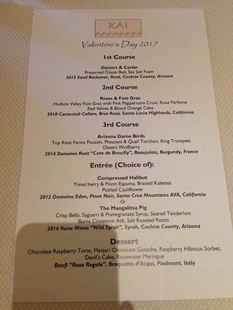 2017 Valentine S Day Menu Picture Of Kai Restaurant Gila River
