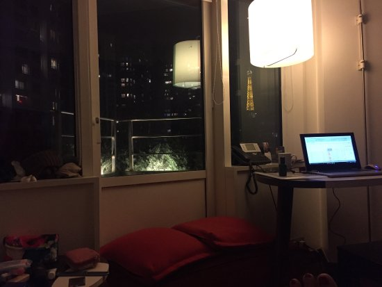 Adagio Paris Tour Eiffel: There's my (half) view of the Eiffel tower from the living room and my workstation in Paris