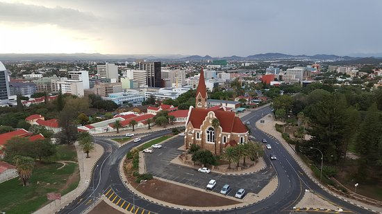 Windhoek, Namibia: Christuskirche from across the road