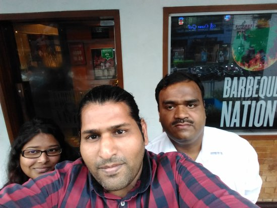 Barbeque Nation : Me and My Friends Outside Restaurant