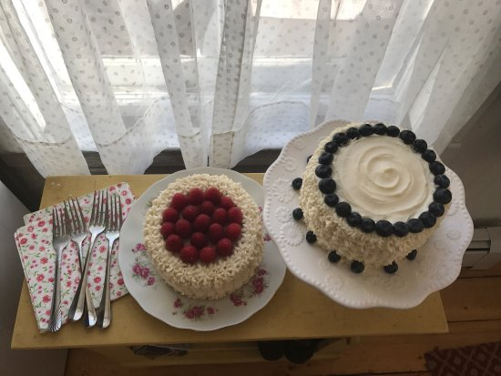 Islesboro, ME: Blueberries & cream layer cake  Raspberries & cream layer cake