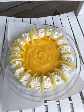 Islesboro, ME: Lemon cheesecake topped with homemade lemon curd