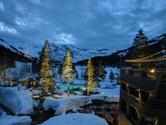 Resort at Squaw Creek : Evening winter view of pool and valley