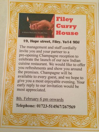 North York Moors National Park, UK: A warm welcome awaits you at new Filey curry house (Indian restaurant & takeaway).we immediately