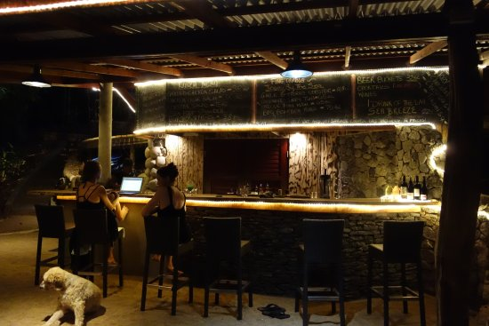 Calibishie, Dominica: View of bar at night -- great lighting!