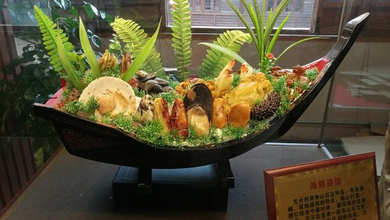 Fuzhou, China: Seafood carved out of stones
